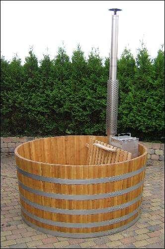 Komplet træbadekar - klar til brug